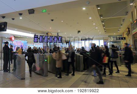 MELBOURNE AUSTRALIA - JUNE 14, 2017: Unidentified people commute at Flinders Street Station.