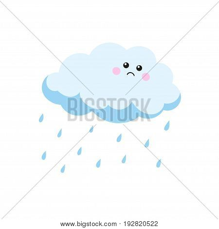 Sad cloud crying raindrops. Vector illustration in a hand-drawn style.