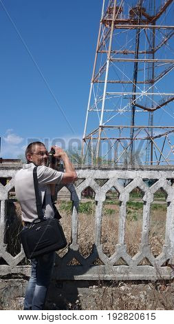 Photographer shot communication tower . Sary Shagan.Former Soviet  anti-ballistic missile testing range.Kazakhstan.