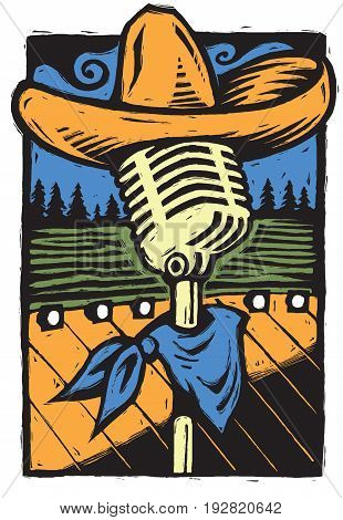 A bold, rustic scratchboard-style image of a vintage microphone with a scarf and ten-gallon hat or sombrero. Evokes Americana or Tex-Mex style music. Great poster art for a gig or festival.