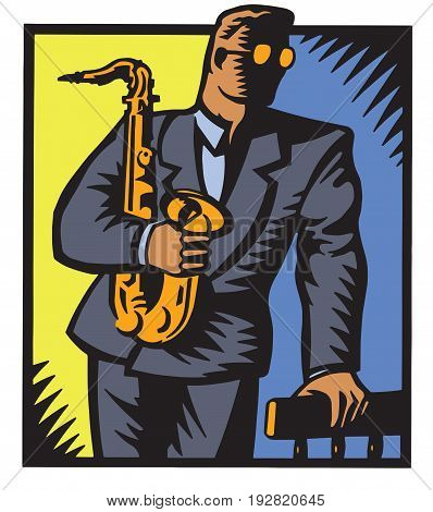 A jazz saxophone player leans against a chair. This vector illustration is created in a woodcut or engraving style.