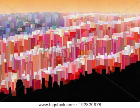 A fanciful colored cityscape of buildings that form the U.S. flag.