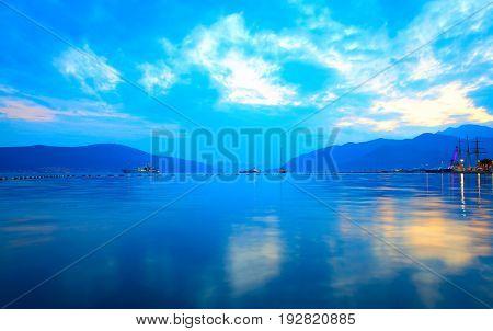 The Bay of Kotor near Tivat at sundown, Montenegro