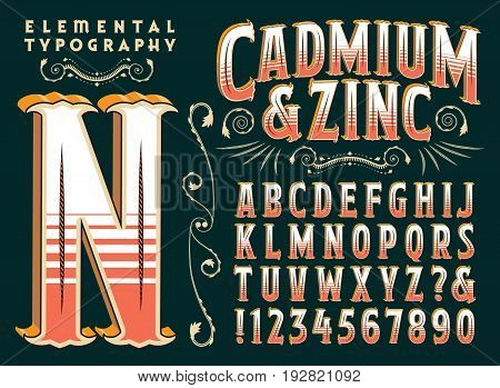 Cadmium & Zinc is a vintage style vector typeface with ornate elements and depth. This file includes all capitals, numerals, some punctuation, and design elements.