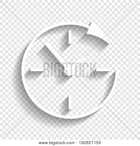 Service and support for customers around the clock and 24 hours. Vector. White icon with soft shadow on transparent background.