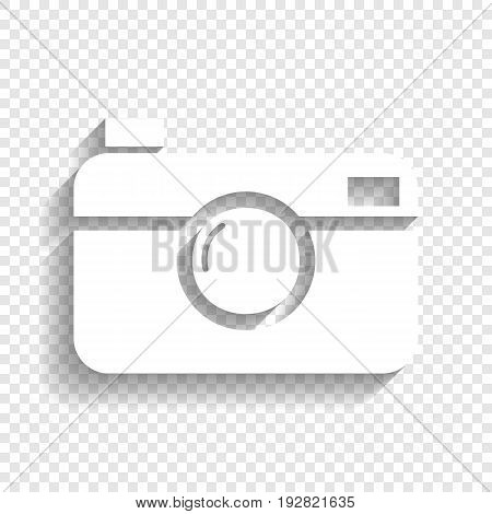 Digital photo camera sign. Vector. White icon with soft shadow on transparent background.