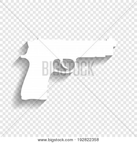 Gun sign illustration. Vector. White icon with soft shadow on transparent background.