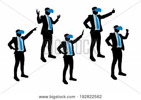silhouette of businessman wear vr and touch something