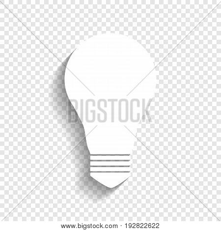 Light lamp sign. Vector. White icon with soft shadow on transparent background.