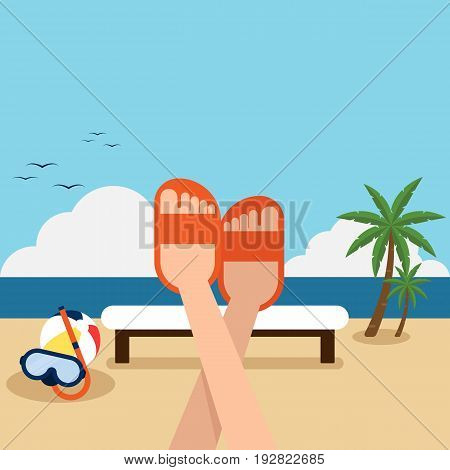 Happy holiday on the beach flat design concept vector illustration