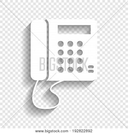 Communication or phone sign. Vector. White icon with soft shadow on transparent background.