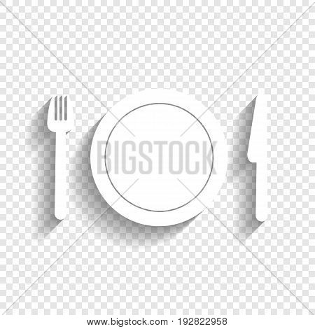 Fork, plate and knife. Vector. White icon with soft shadow on transparent background.