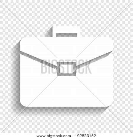Briefcase sign illustration. Vector. White icon with soft shadow on transparent background.