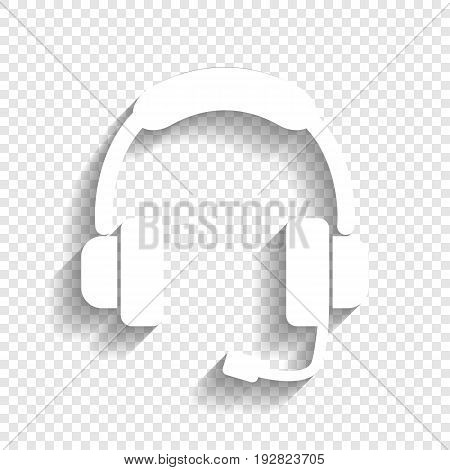 Support sign illustration. Vector. White icon with soft shadow on transparent background.
