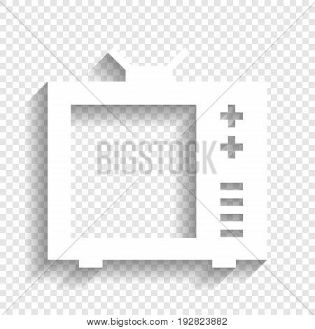TV sign illustration. Vector. White icon with soft shadow on transparent background.