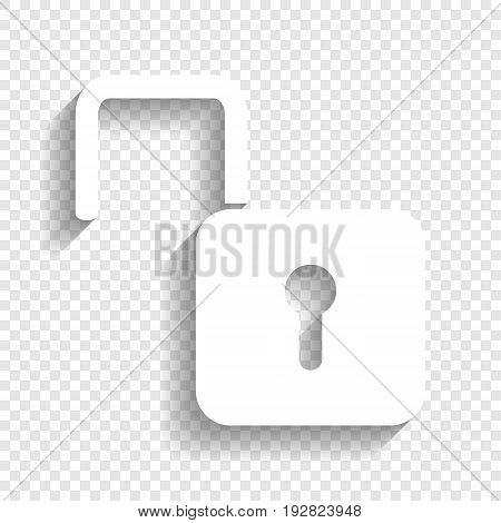 Unlock sign illustration. Vector. White icon with soft shadow on transparent background.