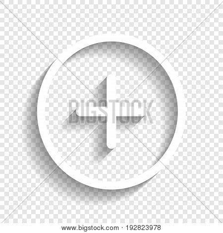 Positive symbol plus sign. Vector. White icon with soft shadow on transparent background.