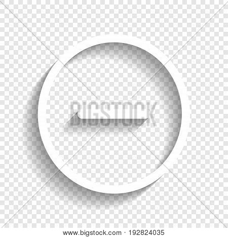 Negative symbol illustration. Minus sign. Vector. White icon with soft shadow on transparent background.