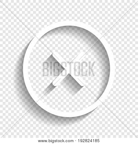 Cross sign illustration. Vector. White icon with soft shadow on transparent background.