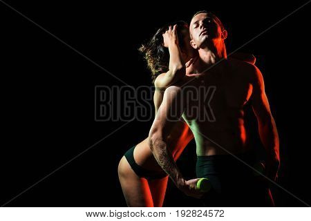Couple In Love, Man With Muscular Body Dumbbell, Girl