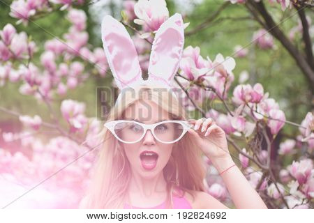 Surprised Girl With Open Mouth, Bunny Ears And Funny Glasses