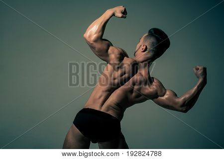 Athlete With Muscular Body And Back In Underwear Pants