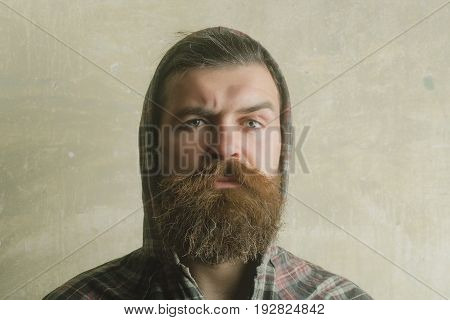 fashion and beauty Bearded man or brutal caucasian hipster with long beard and moustache with serious face wearing hood on head on grey wooden wall.