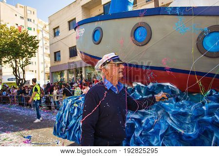 LIMASSOL, CYPRUS - FEBRUARY 26: Carnival participants on Cyprus Carnival Parade on February 26, 2017 in Limassol.