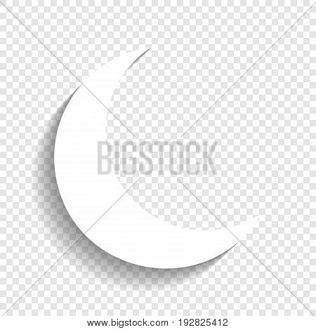 Moon sign illustration. Vector. White icon with soft shadow on transparent background.