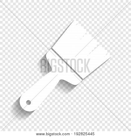 Brush sign illustration. Vector. White icon with soft shadow on transparent background.