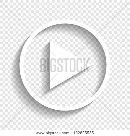 Play sign illustration. Vector. White icon with soft shadow on transparent background.