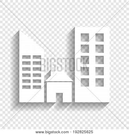 Real estate sign. Vector. White icon with soft shadow on transparent background.