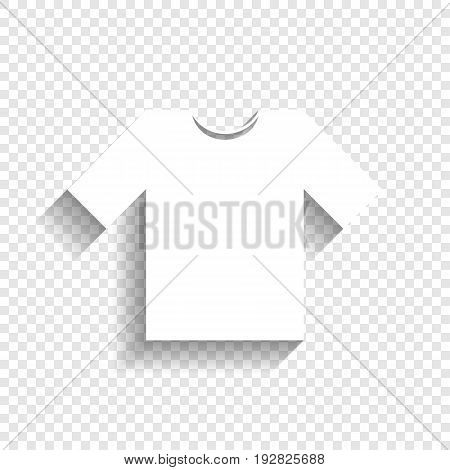 T-shirt sign illustration. Vector. White icon with soft shadow on transparent background.