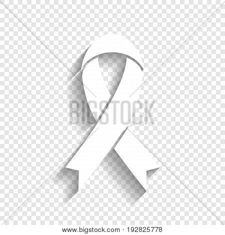 White awareness ribbon sign. Vector. White icon with soft shadow on transparent background.