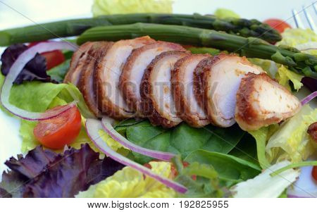 BBQ Bacon wrapped chicken breast, sliced and served on a salad. Close-up