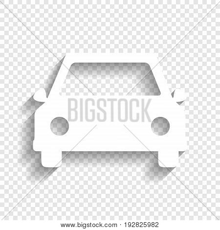 Car sign illustration. Vector. White icon with soft shadow on transparent background.
