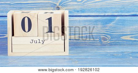 Vintage Photo, July 1St. Date Of 1 July On Wooden Cube Calendar