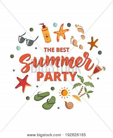 Summer Party text with beach elements isolated on white. Sunscreen, sunglasses, cocktail, starfish, flip flops, palm. Letters in sand. Beach holidays fun design concept. Great for beach party posters.