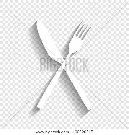 Fork and Knife sign. Vector. White icon with soft shadow on transparent background.