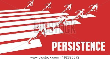 Persistence with Business People Running in a Path 3D Illustration Render