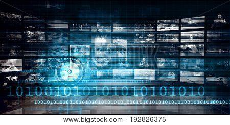 Multimedia Background for Digital Network on the Internet 3D Illustration Render