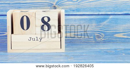 Vintage Photo, July 8Th. Date Of 8 July On Wooden Cube Calendar
