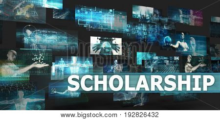 Scholarship Presentation Background with Technology Abstract Art 3D Illustration Render