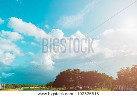 Beautiful Of Blue Sky And Cloud With City Park For Texture Background. Concept Idea Background.