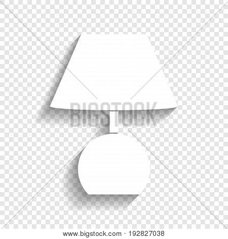 Lamp sign illustration. Vector. White icon with soft shadow on transparent background.