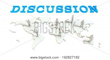 Discussion Global Business Abstract with People Standing on Map 3D Illustration Render