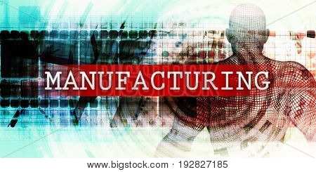 Manufacturing Sector with Industrial Tech Concept Art 3D Illustration Render