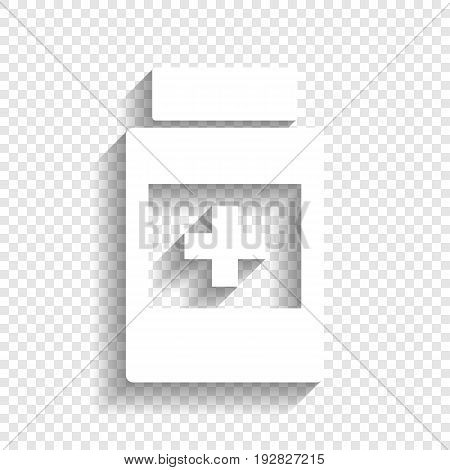 Medical container sign. Vector. White icon with soft shadow on transparent background.