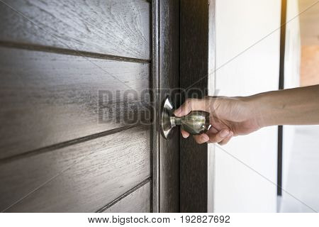 hand hold handle of door close up
