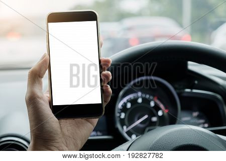 Man driver use his smart phone with blank screen while driving